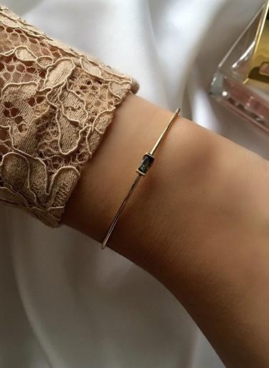 My Joyas Design Yeşil Baget Taşlı Çıtır Bilezik Altın